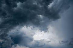 Hintergrund von dunklen Wolken vor einem Gewitter, Sonnenlicht durch sehr dunklen Wolkenhintergrund, weißes Loch im Wirbelwind vo Lizenzfreies Stockfoto