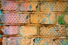 Hintergrund von farbigen alten Ziegelsteinen Lizenzfreies Stockfoto