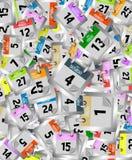 Hintergrund von farbigen Kalenderseiten Stockfotos