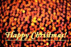 Hintergrund von goldenen Weihnachtslichtern Bokeh mit Text lizenzfreies stockfoto