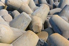 Hintergrund von großen konkreten tetrapods in Helgoland-Insel, Deutschland Lizenzfreies Stockbild