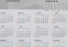 Hintergrund von Kalender 2018 Lizenzfreies Stockbild