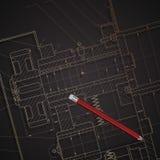 Hintergrund von Maschinenbaukonstruktionszeichnungen auf Dunkelheit Stockfotos
