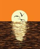 Hintergrund von Meer und von Abendsonnenuntergang Vektor Stockfotos
