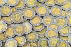 Hintergrund von polnischen Münzen Stockfoto