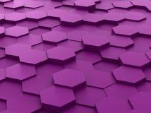 Hintergrund von purpurroten Blöcken des Hexagons 3d Stockbilder