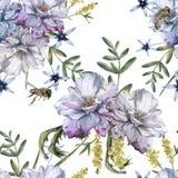 Hintergrund von Rosen mit Wildflowers und Bienen Nahtloses Muster lizenzfreie stockbilder