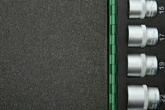 Hintergrund von Sockelschlüsseln in einem Fall mit Schaumgummi mit Kopienraum lizenzfreies stockfoto