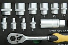 Hintergrund von Sockelschlüsseln in einem Fall mit Schaumgummi mit Kopienraum stockfotos