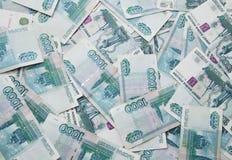 Hintergrund von tausend russischen Rubeln Rechnungen Lizenzfreie Stockfotos