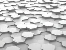 Hintergrund von weißen Blöcken des Hexagons 3d Lizenzfreies Stockfoto