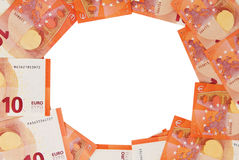 Hintergrund von zehn Euroanmerkungen verbreitete heraus in einem Kreis Stockbilder