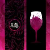 Hintergrund-Wein-rot-Fleck-Probieren-Glas Stock Abbildung