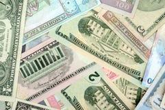 Hintergrund, welche nach dem Zufall aus Mischbanknoten von besteht Lizenzfreies Stockbild
