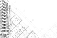 Hintergrundarchitekturskizzenzeichnung Stockfoto