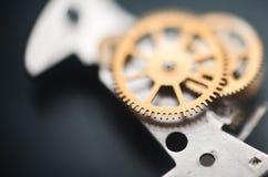 Hintergrundaufbau der Borduhr mechanism Stockbild