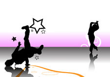 Hintergrundauslegung mit zwei Tänzern Stockfotos