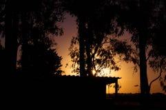 Hintergrundbeleuchtungssonnenuntergang Lizenzfreie Stockfotos