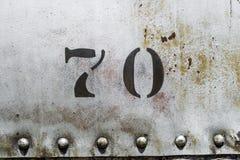 Hintergrundbeschaffenheit der Nr. 70 rostige silberne Metall Lizenzfreies Stockfoto