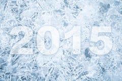 Hintergrundbeschaffenheit des Eises mit 2015 Zahlen des neuen Jahres Lizenzfreies Stockfoto