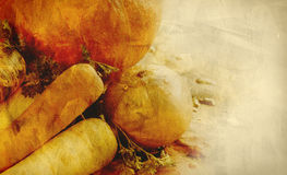 Hintergrundbeschaffenheit mit Kürbisen, Karotten, Samen, Moschuskürbis und Kräutern - Stilllebenzusammensetzung mit Saisongemüse  Stockbild