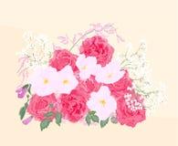Hintergrundblumenstrauß von Rosen und von Orchidee Lizenzfreie Stockbilder