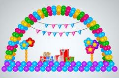 Hintergrunddekoration mit Ballonen Stockbild