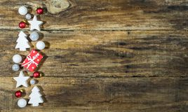 Hintergrunddekorationen der frohen Weihnachten Stockfoto