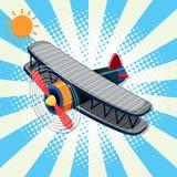 Hintergrunddesign mit Flugzeug und Sonne Stockfotografie