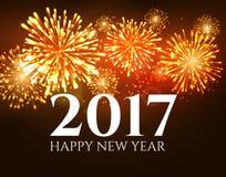 Hintergrundfahnenzusammenfassungs-Feuerwerksplakat des neuen Jahres 2017 Weihnachtsgrußtapete Feiertagsweihnachtsfeierkarte Lizenzfreie Stockfotografie