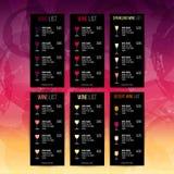 Hintergrundflecke und Farben des Weins Schablone für Weinliste oder Lizenzfreie Abbildung