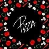 Hintergrundgrenzrahmen mit verschiedenen Pizzabestandteilen auf dem Schwarzen vernarrt lizenzfreie abbildung