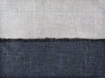 Hintergrundhälfte von Textilgeweben und Hälfte des Leinens Lizenzfreie Stockbilder