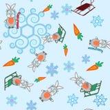 Hintergrundhäschen- und -Pferdeschlittenschneeflocken des Winters nahtlose Stockfoto