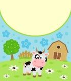 Hintergrundkarikaturkarte mit Kuh Stockfoto