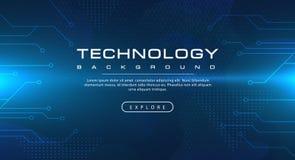 Hintergrundkonzept des blauen Himmels der Technologiefahne mit Lichteffekten vektor abbildung