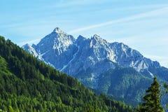 Hintergrundlandschaftsansicht der schneebedeckten Spitzen der Alpen und des Waldes im Tirol Lizenzfreies Stockfoto