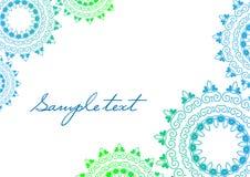 Hintergrundmandala in den grünen und blauen Farben Stockfotografie