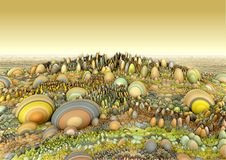 Hintergrundmelonen, -garten und -eier Stockbild