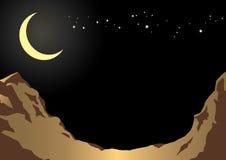 Hintergrundmondnacht und felsige Berge in der Front Illustration Vektor Stockbild