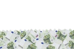 Hintergrundmuster eines Satzes grüner Währungsbezeichnungen von 100 Euros Stockfoto