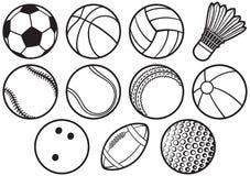Hintergrundmuster mit dünner Linie Ikonen der Sportbälle lizenzfreie abbildung