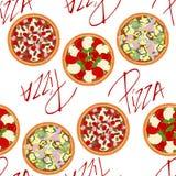 Hintergrundmuster mit verschiedenen Arten von Pizzas Stockfotos