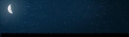 Hintergrundnächtlicher himmel mit Sternen und Mond stockbild