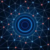 Hintergrundnetz Hintergrund kreist Punkte und Linien ein Lizenzfreie Stockfotografie