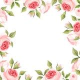 Hintergrundrahmen mit rosa Rosen Auch im corel abgehobenen Betrag vektor abbildung