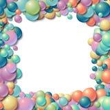 Hintergrundrahmen mit scatterd unordentlichen glühenden Gummibällen Stockbilder