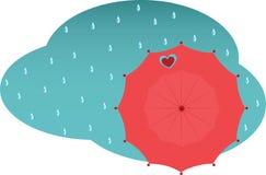 Hintergrundregen und -regenschirm Stockbild