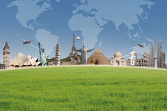 Hintergrundreiseziel auf Weltkarte Lizenzfreies Stockbild