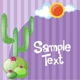 Hintergrundschablone mit Kaktus und Sonne Stockbild